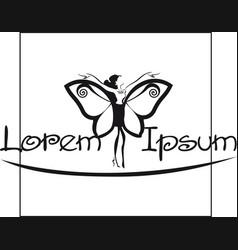 butterfly wings girl design for logo vector image