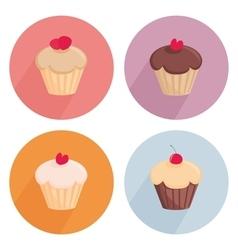 Cake flat icon set isolated on white background vector image vector image