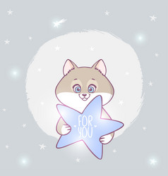 cat with a star vector image vector image