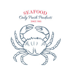 hand drawn crab icon vector image
