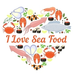 I Love Seafood heart design vector image vector image