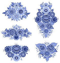monochrome collection of fancy decoration floral vector image vector image