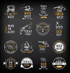 Wild west badges design vintage western elements vector