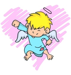 Cartoon image of cute little cupid with yellow vector image