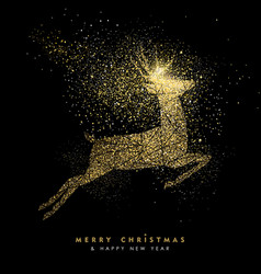 christmas and new year holiday gold glitter deer vector image vector image