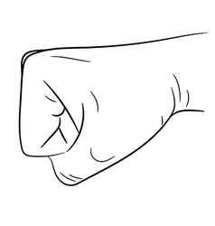 clenched fist side view on white background vector image vector image