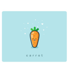 flat icon of carrot cute vegetable cartoon vector image vector image
