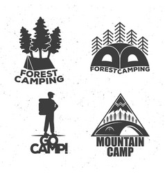 a camping set of logos for travelers a tent a vector image vector image