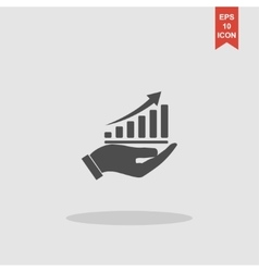 chart icon with hand Flat vector image vector image