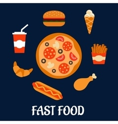 Fast food icons in flat style vector image vector image