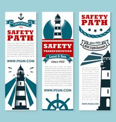 Lighthouse nautical safety banner set design vector