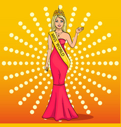 miss the world of beauty the girl the winner of vector image vector image