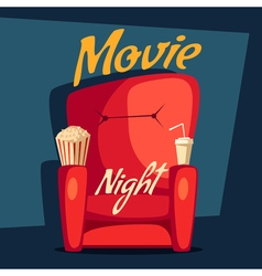 Movie night Home cinema watching Cartoon vector image
