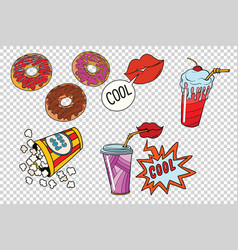 Sweet fast food set for the movie vector
