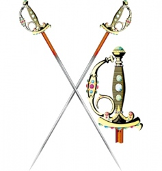 Two crossed ceremonial sword vector