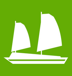 vietnamese junk boat icon green vector image