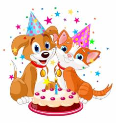 birthday party dog and cat vector image vector image
