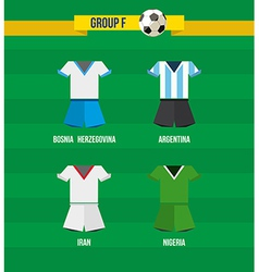 Brazil Soccer Championship 2014 Group F team vector image vector image
