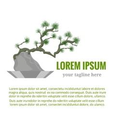 Coniferous bonsai in a flowerpot A traditional vector image