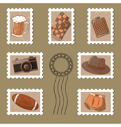 Cute stamp and postmark collection vector image vector image