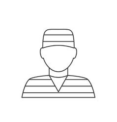 Prisoner avatar thin line icon vector image vector image