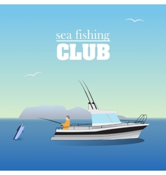 Sea marlin fishing on the boat vector image