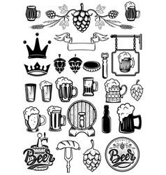 set of design elements for beer labels beer mugs vector image vector image