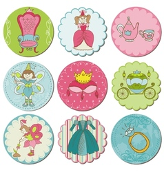 Tags with Princess Elements vector image vector image