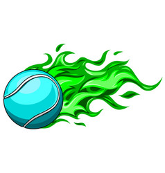 A flaming tennis ball on fire flying through vector