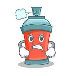Angry aerosol spray can character cartoon vector