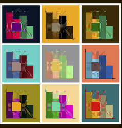 Assembly of flat icons nanotechnology infographics vector