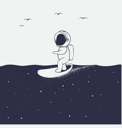 Astronaut rides on surfboard on space sea vector