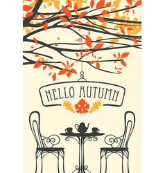 autumn landscape with furniture of street cafe vector image