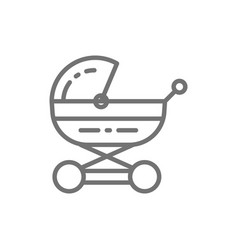 baby carriage stroller for newborn pram line vector image