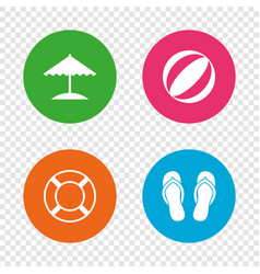 Beach holidays icons umbrella and sandals vector
