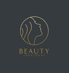 beauty face beauty salon linear logo vector image