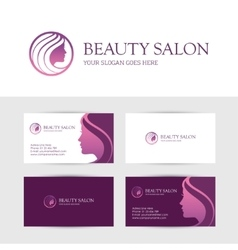 Beauty salon business cards design vector