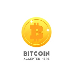 Bitcoin accepted here coin flat design vector image vector image