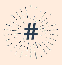 Black hashtag icon isolated on beige background vector