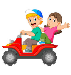 Boy and girl are riding atv together vector