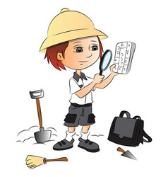 Boy using magnifying glass at construction site vector