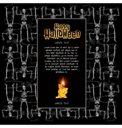 Burning candle in a frame of skeletons vector image vector image