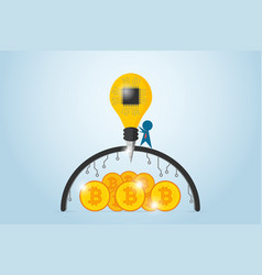 businessman drilling barrier to find bitcoins vector image