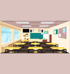 Cartoon empty classroom high school room interior vector