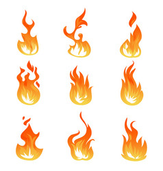 Cartoon fire flames set ignition light vector