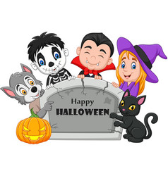 cartoon kids with halloween costume vector image