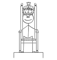 Cartoon smiling man or king sitting on the vector
