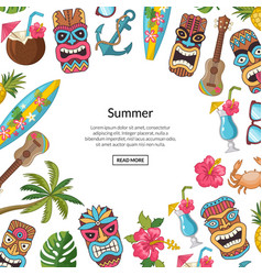 Cartoon summer travel elements tiki vector