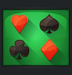 Casino poker icons on green carpet vector