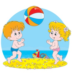 Children play a ball vector image